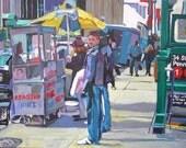 "New York Art Print ""Vendor On 34th Street""  Cityscape Painting by Gwen Meyerson"