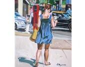 Girl In Blue Dress Street Scene Painting New York Art Print 8x10 City Girl New York Figurative Painting by Gwen Meyerson