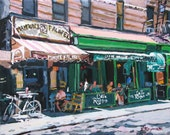 Cafe Reggio Mamouns New York Art NYC Art  Falafel on MacDougal, Fine Art Print 8x10, New York Cityscape Painting by Gwen Meyerson