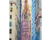 Trinity Church New York Art NYC Art Wall Street, lower manhattan Art  Fine Art Print 8x10,  pastel Painting by Gwen Meyerson