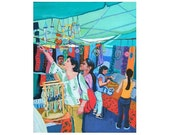 Colorful Market Original Painting Street Fair teal blue red New York City Craft Market 16x20 canvas NYC Urban Painting Gwen Meyerson