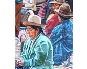Peruvian Women in Andean Market Art Print 8x10 Green Blue Red Figurative Painting Gwen Meyerson