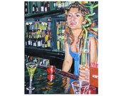 Fine Art Print 8x10 Bar Girl Original Figurative Painting black red green Gwen Meyerson