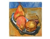 Fine Art Print Still Life Watercolor, Three Pears, tan brown ochre blue orange Painting by Gwen Meyerson