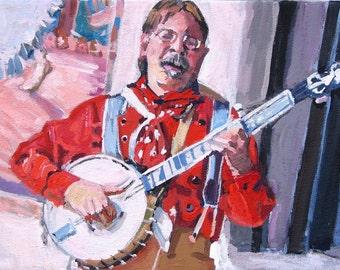 Music Lover Painting. Banjo Man.  Banjo Player in Santa Fe. Musician Art. Gift for Musician. Original Southwestern Painting Gwen Meyerson