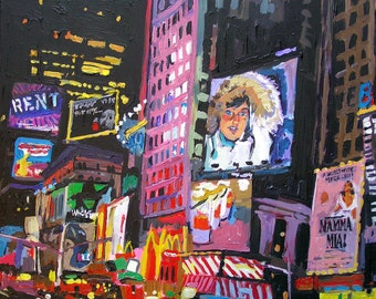 Broadway Times Square New York Art NYC Painting Theater District NYC Night Fine Art Print Cityscape Wall Art 8x10 by Gwen Meyerson