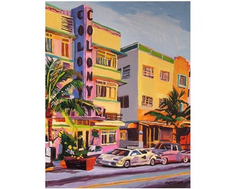 Miami Art The Colony Fine Art Print 8x10 11x14 12x16, Miami South Beach, Florida Deco Architecture pink yellow Painting  Deco Gwen Meyerson