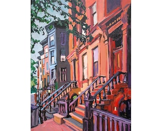 Brooklyn Brownstones, Fine Art Giclee Print  New York Cityscape orange peach Painting by Gwen Meyerson