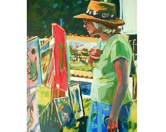 """Woman looking at  Art Original Painting """"Art Lover"""" Figurative Painting, Prints available, yellow green by Gwen Meyerson"""