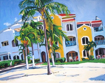 """Beach Fine Art Print Aruba 8x10, """"Tropical Paradise"""" Caribbean beach Painting by Gwen Meyerson"""