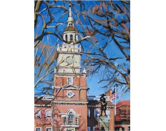 """Philadelphia Art Painting Fine Art Print 8x10, """"Independence Hall"""" old town philly blue brown Cityscape by Gwen Meyerson"""