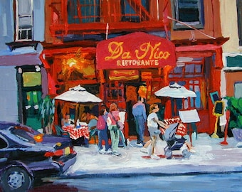 Red Cafe Art. Cafe Painting. outdoor cafe. NYC Urban Art Little Italy Print 8x10 New York City Manhattan Cityscape painting Gwen Meyerson