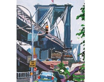Brooklyn Bridge Painting New York Art Dumbo Neighborhood Brooklyn Cityscape Fine Art Print, NYC Painting by Gwen Meyerson