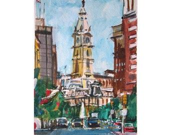 Philadelphia Watercolor Art. City Hall, Art Print Philadelphia Painting, Center City. Philly watercolor.  by Gwen Meyerson