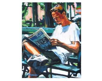 "Reader Art Fine Art Print 8x10, ""Man In Park Reading"" reading newspaper park bench  Painting by Gwen Meyerson"