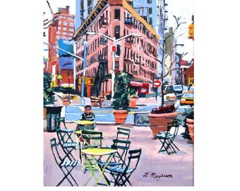 Meatpacking District Plaza, Chelsea Market New York Art NYC Art,  Little Flatiron Art Print Cityscape pink New York Painting Gwen Meyerson
