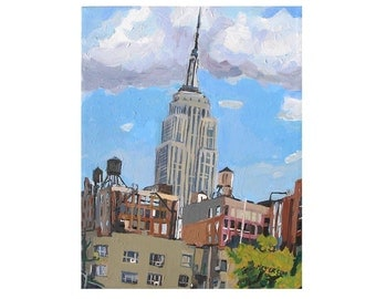 Empire State Building Painting NYC Skyline Water Towers Art 8x10 print rooftops New York City Cityscape Painting Gwen Meyerson