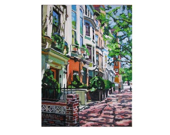New York Townhouse Painting  NYC Art Westside Townhouses, art print New York Cityscape urban street Painting by Gwen Meyerson