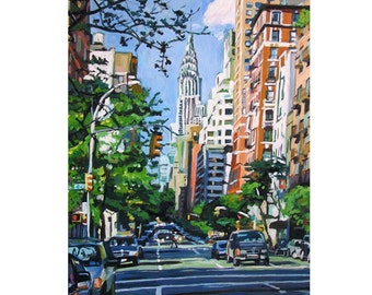 New York Art Chrysler Building. NYC Art Urban Cityscape Print, Painting by Gwen Meyerson