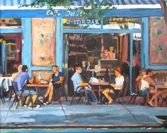 Cafe Art New York Art West Village Cafe Fine Art Print, Caffe, food, Bleecker St New York City rustic turquoise blue Cityscape Gwen Meyerson