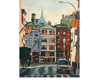 NY Architecture, Cityscape Painting, New York Buidings, Edward Hopper Skyline Early Morning, New York Cityscape Painting by Gwen Meyerson