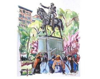 President George Washington Equestrian Statue Original Watercolor, Union Square Park New York City Painting Urban Fine Art Gwen Meyerson