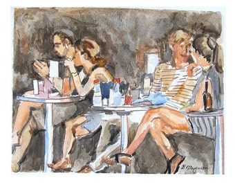 People in Cafe, Cafe Art. Painting of People, Outdoor Cafe. Watercolor Painting 8x10 Print New York City Greenwich Village, by Gwen Meyerson