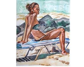 Beach Art Original Watercolor Aruba Caribbean  Painting, Sun Bather, summer Beach Lounger Painting by Gwen Meyerson