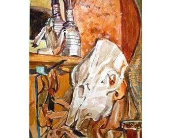 Southwestern Bull Skull Original Watercolor, Cow Skull, rustic georgia o'keeffe inspired  Painting by Gwen Meyerson