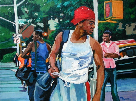 African American Men, Original Canvas. Frame included.  New York City Urban NYC Painting, 18x24. Gwen Meyerson