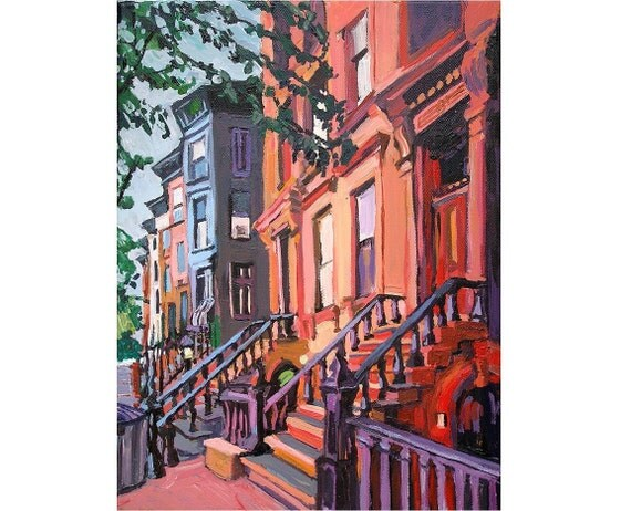 Brooklyn Brownstones, Fine Art Giclee Print  New York Cityscape orange peach Painting by Gwen Meyerson