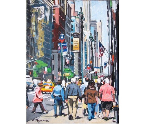New Yorkers Madison Avenue Upper East Side New York Painting Wall Decor Cityscape urban Print 8x10,  NY Cityscape Painting by Gwen Meyerson