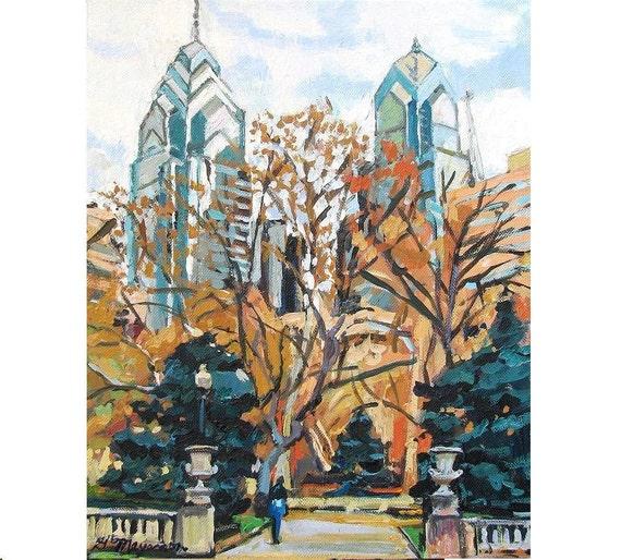 Philadelphia Art Painting Rittenhouse Square, Art Giclee Print Cityscape painting Gwen Meyerson