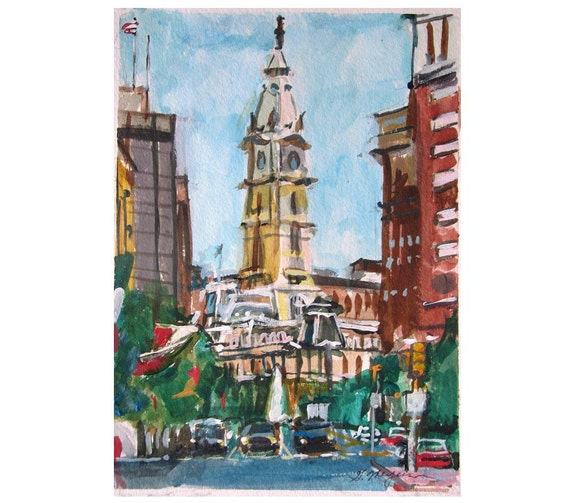 Philadelphia Art City Hall, Art Print Philadlephia Painting, Watercolor by Gwen Meyerson