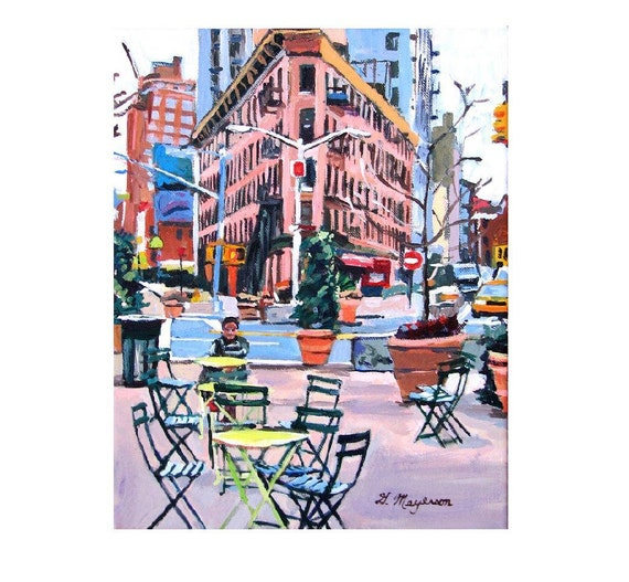 Chelsea Market New York Art NYC Art Meatpacking District Plaza, Little Flatiron Art Print Cityscape  pink New York Painting  Gwen Meyerson