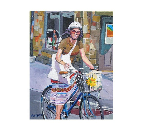 City Girl Biker Fine Art Print 8x10, Urban brown ochre lavender ...