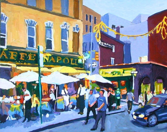 Little Italy Cafe Painting New York Art Wall Decor, Caffe Napoli, Italian NYC City Art Print Cityscape Painting by Gwen Meyerson