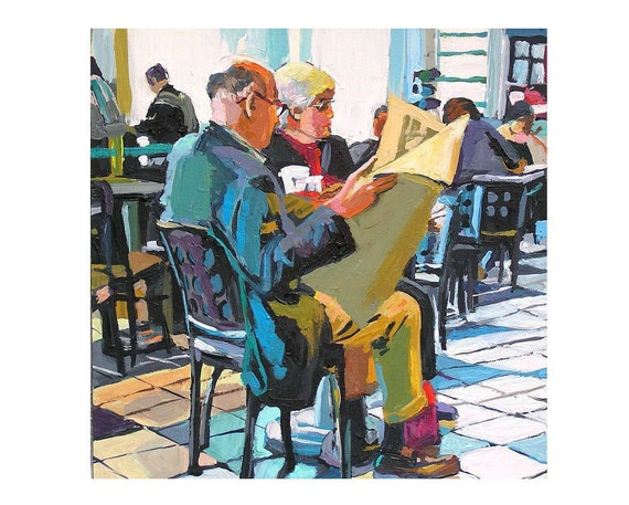 Bookstore Man Reading Newspaper Fine Art Print 8x8, Book Lover Inside bookstore Painting by Gwen Meyerson
