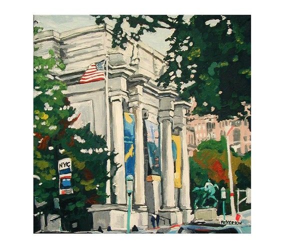 New York Art Museum Natural History Art Wall Decor, Fine Art Print  8x8, Original NYC Cityscape Painting by Gwen Meyerson