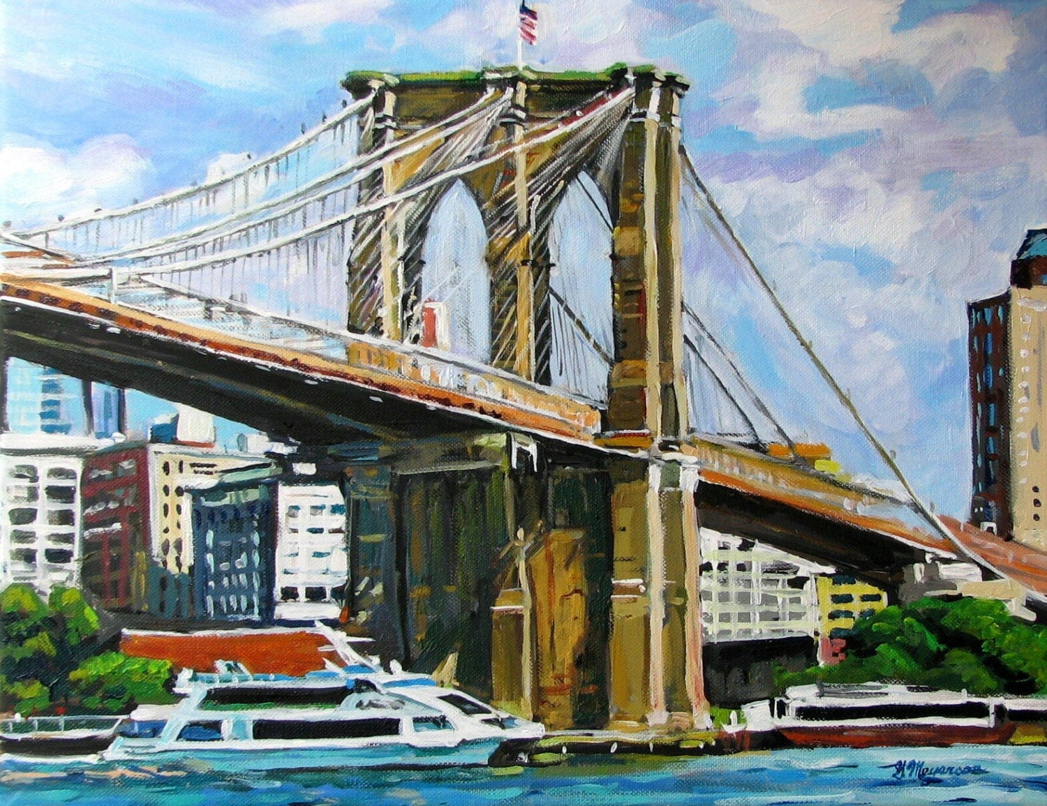 Brooklyn bridge painting brooklyn print brooklyn art for Art and craft store in brooklyn ny