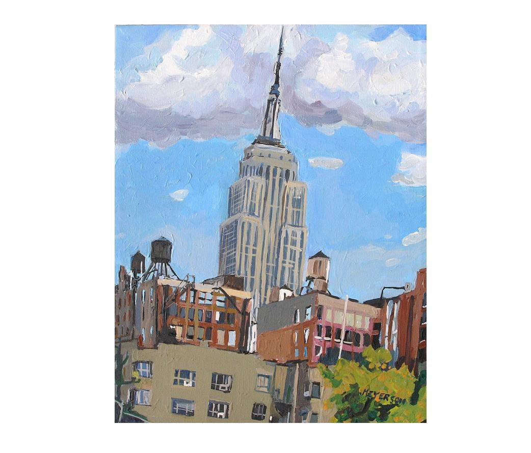 Empire State Building Painting NYC Skyline Water Towers Art
