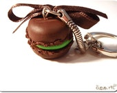 French Chocolate and pistachio macaron keyring