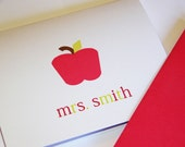 Teacher Personalized Notecards with apple