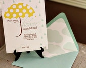 Singing in the Rain Birthday/Shower Invitation with umbrella and raindrops