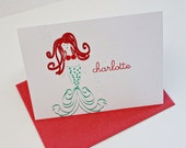 Personalized Folded Notecards with mermaid for girl