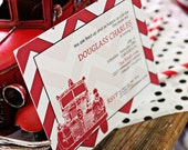 Firetruck Party Invitation, Shower or Birth Announcement