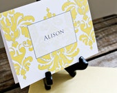 Damask Personalized Folded Notecards with damask pattern