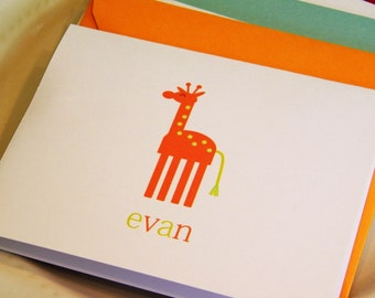 Personalized Folded Notecards with Giraffe