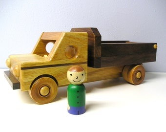 Wood Landscaper's Truck and Hand Painted Driver with a beeswax finish