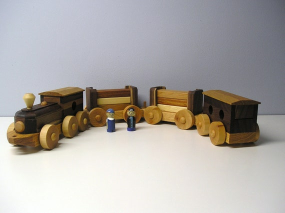 Lumber Train Set with Hand Painted People and a HANDRUBBED beeswax finish